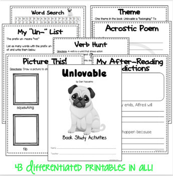 BOOK STUDY - Unlovable by Dan Yaccarino- 43 Differentiated Activities/Printables