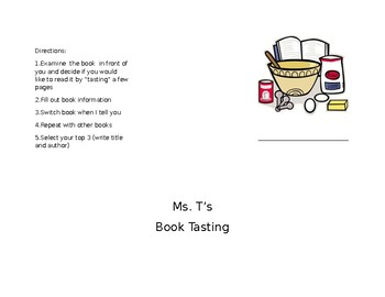 BOOK TASTING MENU - BOOK CLUBS IN THE CLASSROOM