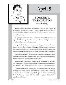 BOOKER T. WASHINGTON (APRIL 5)