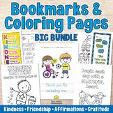 COLORING PAGES & BOOKMARKS Bundle -Kindness, Friendship, Affirmations, Gratitude