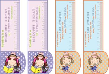 BOOKMARKS COUNTRY GIRL/BOY 3in1: bookmark +ruler + motivational reading quote