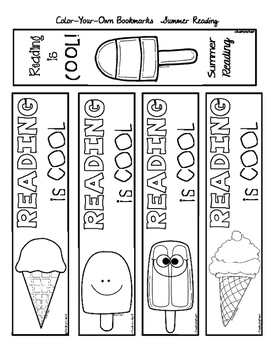 SUMMER READING Color-Your-Own BOOKMARKS by Reading by Heart | TpT