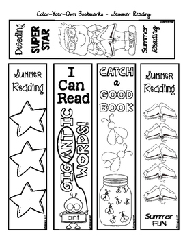 SUMMER READING Color-Your-Own BOOKMARKS
