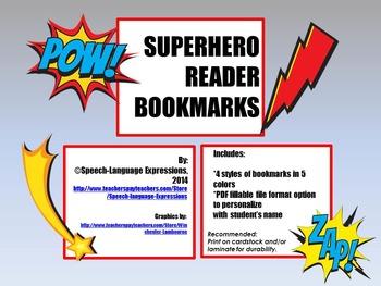 FREE SUPER READER BOOKMARKS (SUPERHERO)