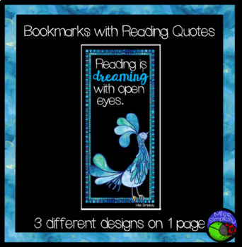BOOKMARKS with reading quotes - 3 designs WATERCOLOR BIRDS of PARADISE