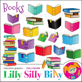 BOOKS Clipart set. Color Graphic. {Lilly Silly Billy}