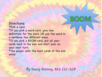 BOOM A Multiple Meaning Word Game
