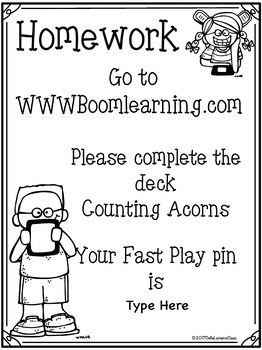 BOOM CARD Counting to 10  with Fall Acorns