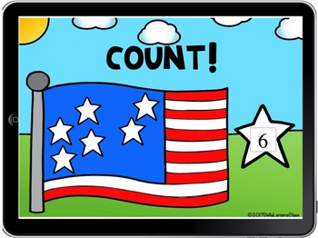 BOOM CARD Counting to 10 with the American Flag