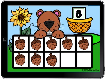 BOOM CARD Fall Counting with Ten Frames - Squirrels