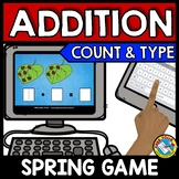 BOOM CARDS ADDITION GAME (MAY ACTIVITY KINDERGARTEN) SPRING MATH CENTER