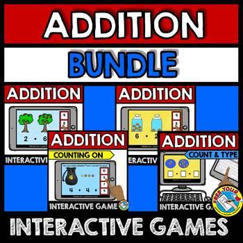 BOOM CARDS MATH GAMES KINDERGARTEN (ADDITION WITHIN 10 BUNDLE)