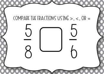 BOOM CARDS - Comparing Fractions with the Same Numerator