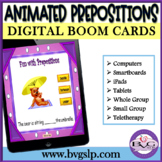 BOOM CARDS Animated Vocabulary PREPOSITIONS Sentence Formulation - Teletherapy