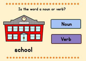 BOOM CARDS™ Digital Task Cards – Back to School Nouns and Verbs