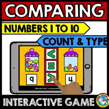 BOOM CARDS COMPARING NUMBERS KINDERGARTEN MATH ACTIVITIES (NUMBERS 1-10)