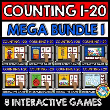 BOOM CARDS BUNDLE OF COUNTING GAMES (NUMBERS 1-20 DIGITAL TASK CARDS)