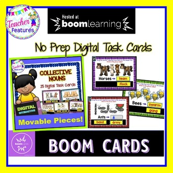 BOOM CARDS ELA and GRAMMAR Collective Nouns Digital Task Cards