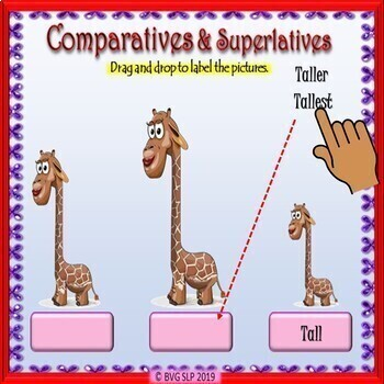BOOM CARDS Comparatives & Superlatives ADJECTIVES Teletherapy NO PRINT