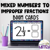 Converting Mixed Numbers to Improper Fractions Boom Cards