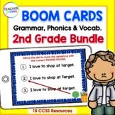 Second Grade BOOM CARDS PHONICS, VOCABULARY & GRAMMAR BUNDLE