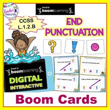 BOOM CARDS SUMMER GRAMMAR for 1st Grade END PUNCTUATION IN SENTENCES