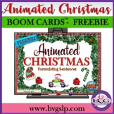 BOOM CARDS FREEBIE Animated CHRISTMAS and Sentence Formulation - Teletherapy