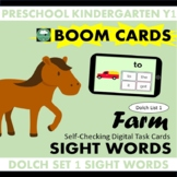 BOOM CARDS™ Farm SIGHT WORDS - Dolch List 1 Distance Learning