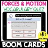 Forces and Motion Vocabulary Quiz BOOM CARDS: Use with NGSS