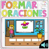 Oraciones revueltas Boom Cards, Formar oraciones, Scrambled sentences in spanish