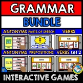 BOOM CARDS GRAMMAR GAMES BUNDLE (VERBS, PREPOSITIONS, PART