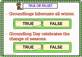 BOOM CARDS READING COMPREHENSION GROUNDHOG DAY HISTORY