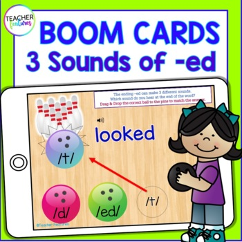 BOOM CARDS Phonics & Word Work INFLECTIONAL ENDINGS 3 Sounds of –ED