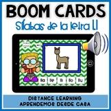 BOOM CARDS:Juego lectura de sílabas letra digrafo Ll- Distance Learning español