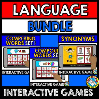 BOOM CARDS BUNDLE OF LANGUAGE GAMES (SYNONYMS AND COMPOUND WORDS ACTIVITIES)