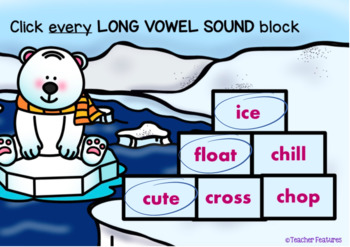BOOM CARDS PHONICS LONG VOWEL SOUNDS with Polar Bears and Penguins