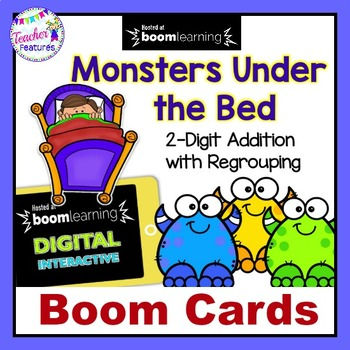BOOM CARDS MATH | 2-DIGIT ADDITION WITH REGROUPING | Monsters Under the Bed
