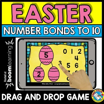 BOOM CARDS MATH APRIL (NUMBER BONDS TO 10 GAMES) EASTER ACTIVITY KINDERGARTEN