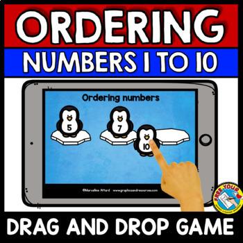 BOOM CARDS MATH DECEMBER ACTIVITY (KINDERGARTEN ORDERING NUMBERS CENTER WINTER)