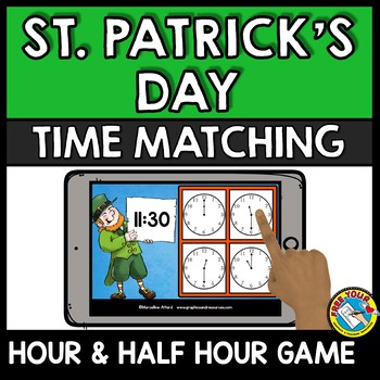 BOOM CARDS MATH (MARCH ACTIVITY 1ST GRADE) TELL TIME TO THE HOUR AND HALF HOUR