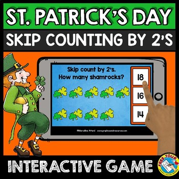 BOOM CARDS MATH MARCH ACTIVITY (KINDERGARTEN SKIP COUNTING BY 2 GAME)