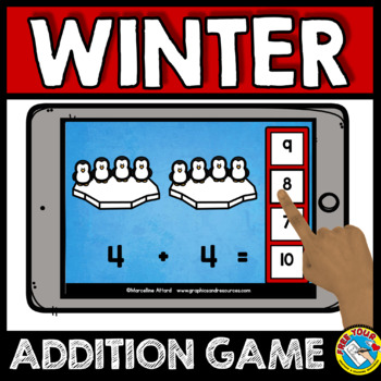 BOOM CARDS MATH FEBRUARY ACTIVITY (KINDERGARTEN WINTER ADDITION IPAD GAMES)