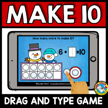 BOOM CARDS MATH WINTER ACTIVITIES (KINDERGARTEN MAKE 10 TO ADD IPAD GAMES)