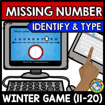 BOOM CARDS MATH WINTER ACTIVITIES (KINDERGARTEN MISSING NUMBERS TO 20)