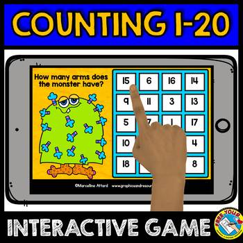 BOOM CARDS MONSTER THEME COUNTING GAME (NUMBERS 1-20 DIGITAL TASK CARDS)