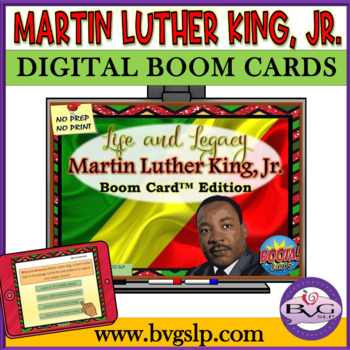 BOOM CARDS Martin Luther King, Jr. Comprehension Unit No Print - Teletherapy