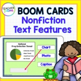 BOOM CARDS READING Nonfiction Text Features Frog Theme DIGITAL TASK CARDS