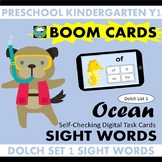 BOOM CARDS™ Ocean SIGHT WORDS - Dolch List 1 Distance Learning