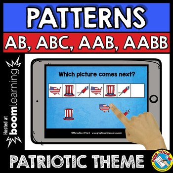 BOOM CARDS PATRIOTIC MATH (PATTERNING 4TH OF JULY ACTIVITY KINDERGARTEN