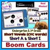 BOOM CARDS CVC WORDS with real photos SHORT A and SHORT I